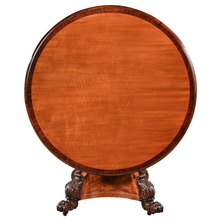Rare 19th Century Peters of Genoa Satinwood & Rosewood Centre Table For Sale