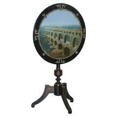 Rare 19th Century Pont Du Gard Aqueduct Grand Tour Mother of Pearl Tripod Table