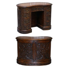 Rare 19th Century Restored English Oak Brown Leather Kidney Desk Gothic Jacobean