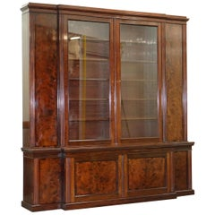 Rare 19th Century Rosewood & Mahogany Breakfront Library Bookcase Hobbs & Co