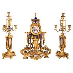 Rare 19th Century Sevres Style Clock Set