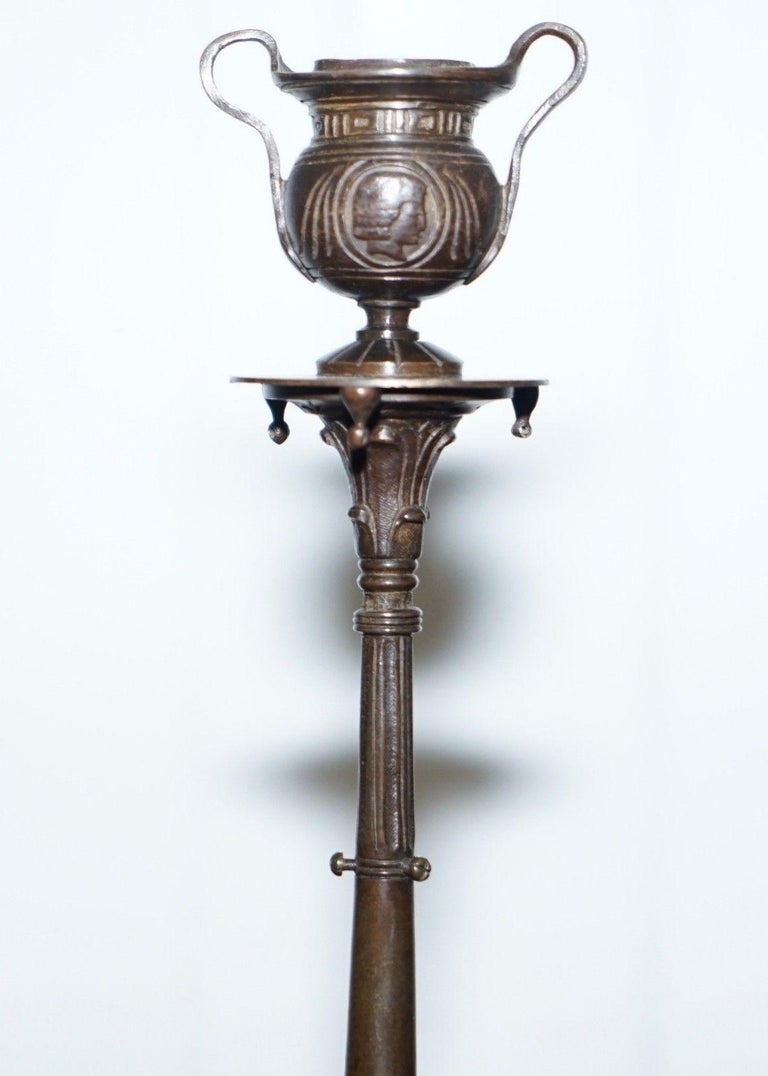 Victorian Rare 19th Century Solid Bronze Candlesticks August Maximilien Delafontaine, Pair For Sale