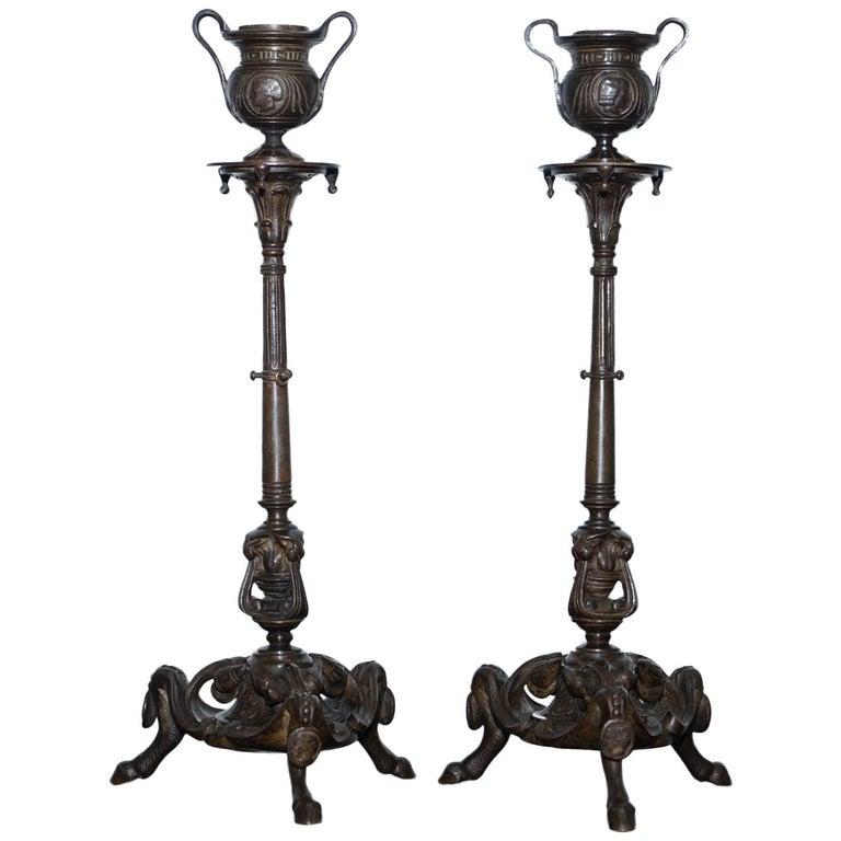 Rare 19th Century Solid Bronze Candlesticks August Maximilien Delafontaine, Pair For Sale
