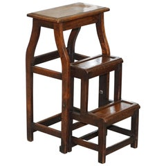 Rare 19th Century Solid Elm Metamorphic Library Steps into a Stool Stunning Find