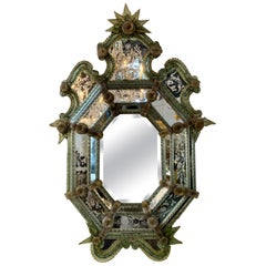 Rare 19th Century Venetian Colored and Etched Glass Mirror