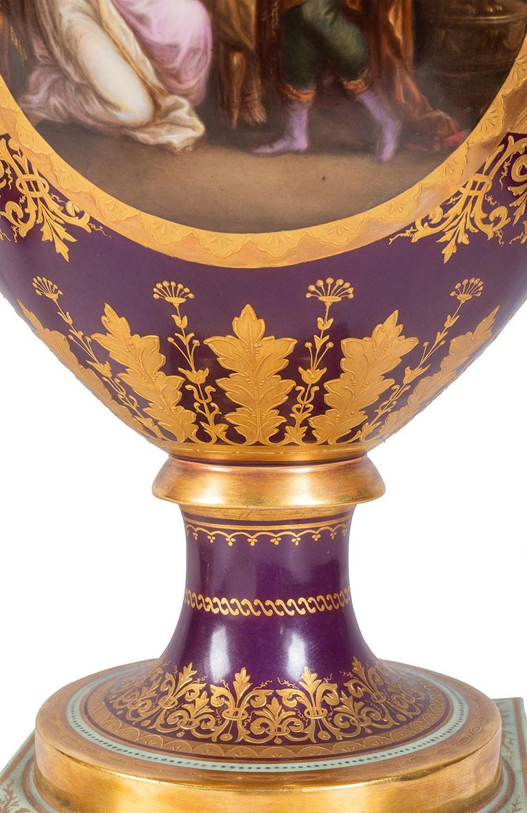 Rare 19th Century Vienna Style Porcelain Garniture of Three Large Lidded Vases For Sale 10