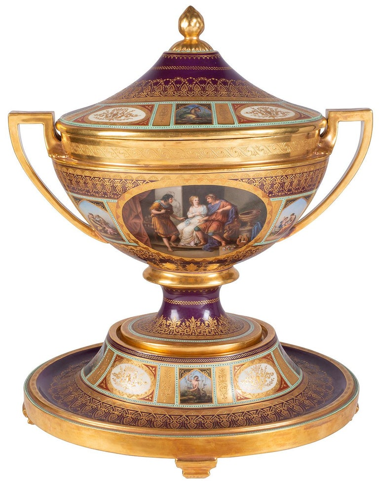 Austrian Rare 19th Century Vienna Style Porcelain Garniture of Three Large Lidded Vases For Sale