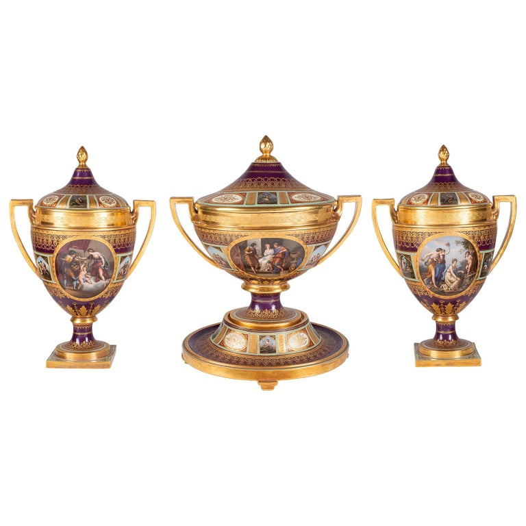 Rare 19th Century Vienna Style Porcelain Garniture of Three Large Lidded Vases For Sale