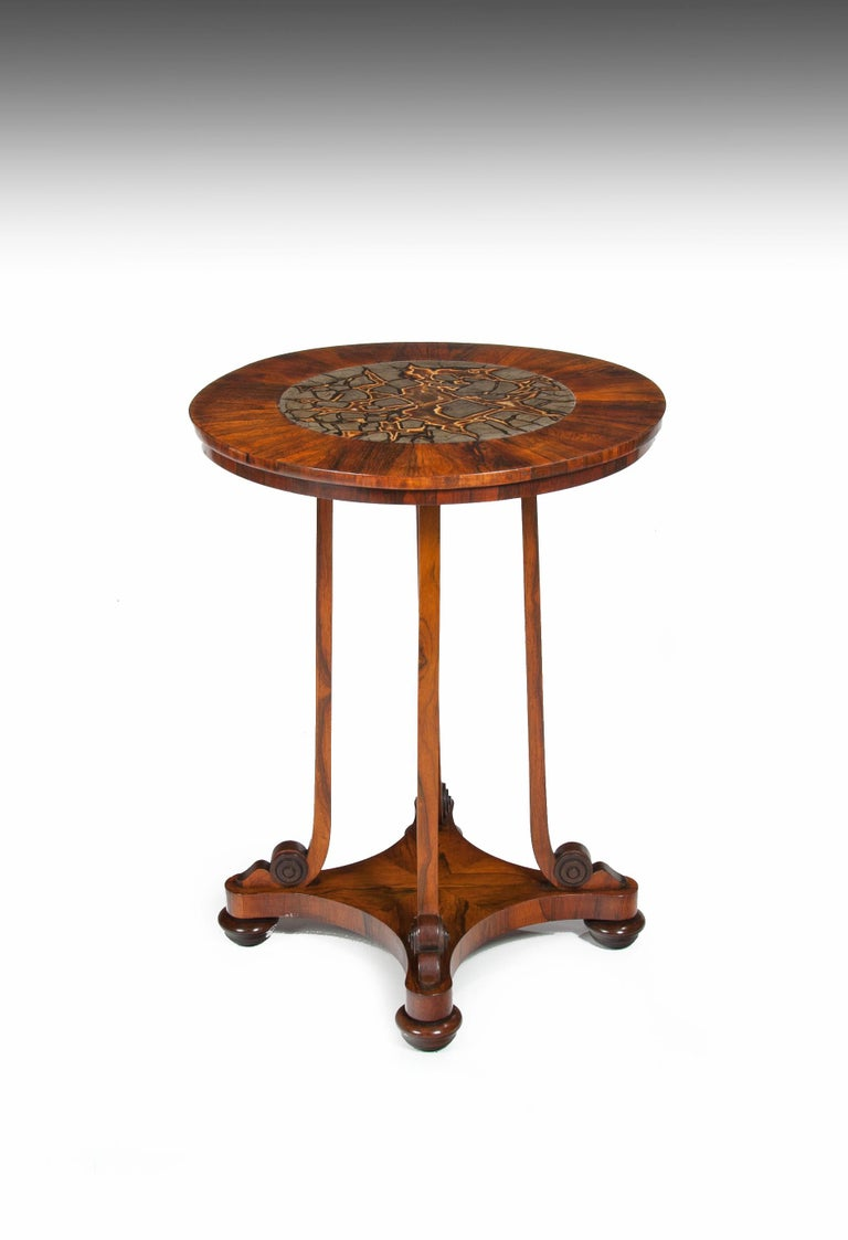 A delightful and rare 19th century William IV period Septarian Nodule / turtle stone English marble circular specimen table.   English, circa 1835.  The circular top having a rosewood veneered border inset with a large turtle stone marble