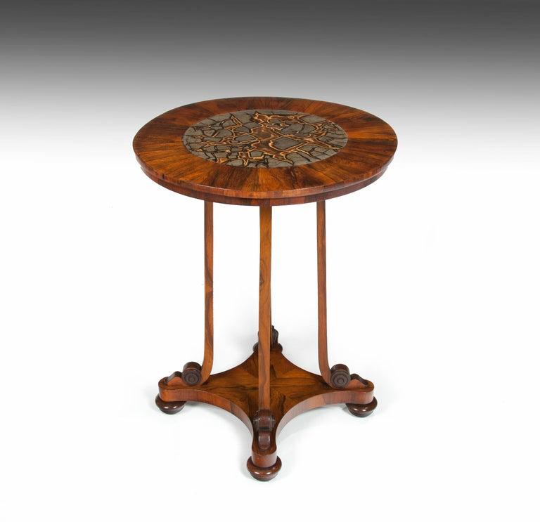 English Rare 19th Century William IV Turtle Stone Marble Top Specimen Table For Sale