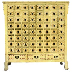 Rare 19th Century Yellow Chinese Apothecary Cabinet 67 Sectioned Drawers