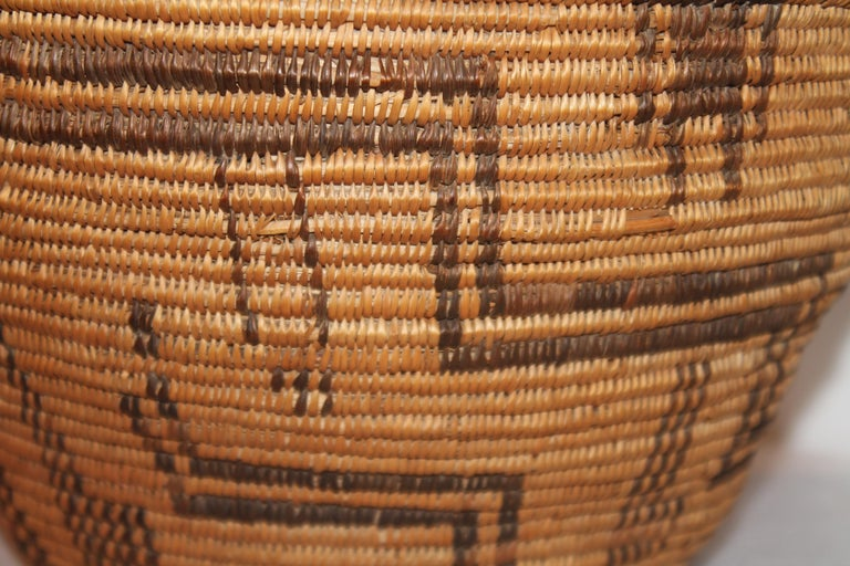 American Rare 19th C Apache Indian Pictorial Basket Olla For Sale