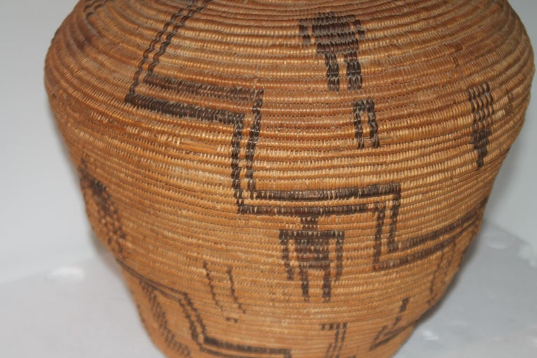 Hand-Woven Rare 19th C Apache Indian Pictorial Basket Olla For Sale
