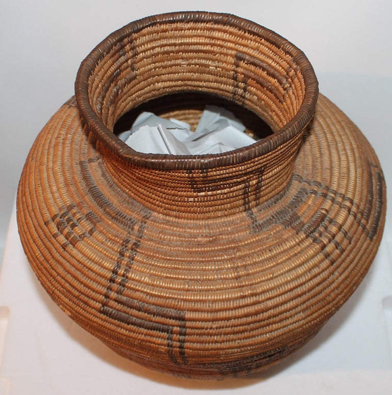 Hemp Rare 19th C Apache Indian Pictorial Basket Olla For Sale