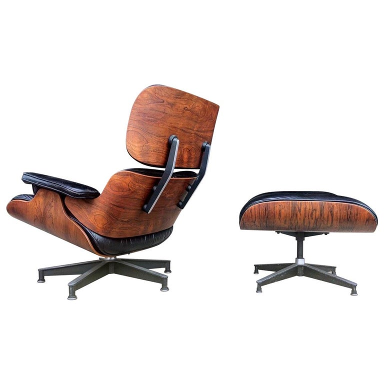 Rare 1st Year 1956 Eames Lounge With Spinning Ottoman For