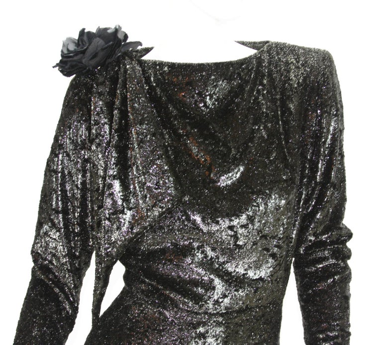 Rare 2 in 1 Yves Saint Laurent Couture Crushed Velvet Numbered Dress c. 1986 For Sale 6