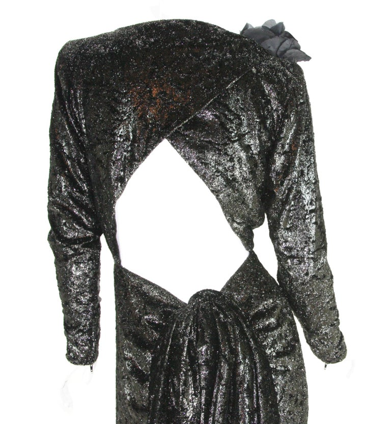 Rare 2 in 1 Yves Saint Laurent Couture Crushed Velvet Numbered Dress c. 1986 For Sale 7