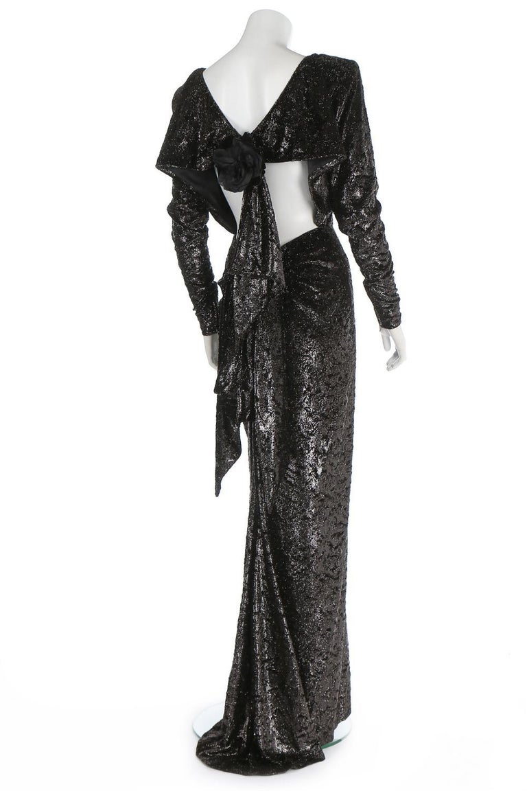 Black Rare 2 in 1 Yves Saint Laurent Couture Crushed Velvet Numbered Dress c. 1986 For Sale