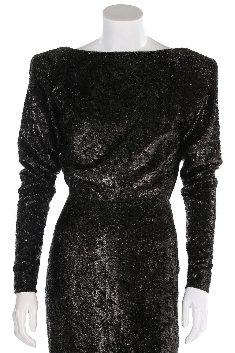 Rare 2 in 1 Yves Saint Laurent Couture Crushed Velvet Numbered Dress c. 1986 In New Condition For Sale In Montgomery, TX