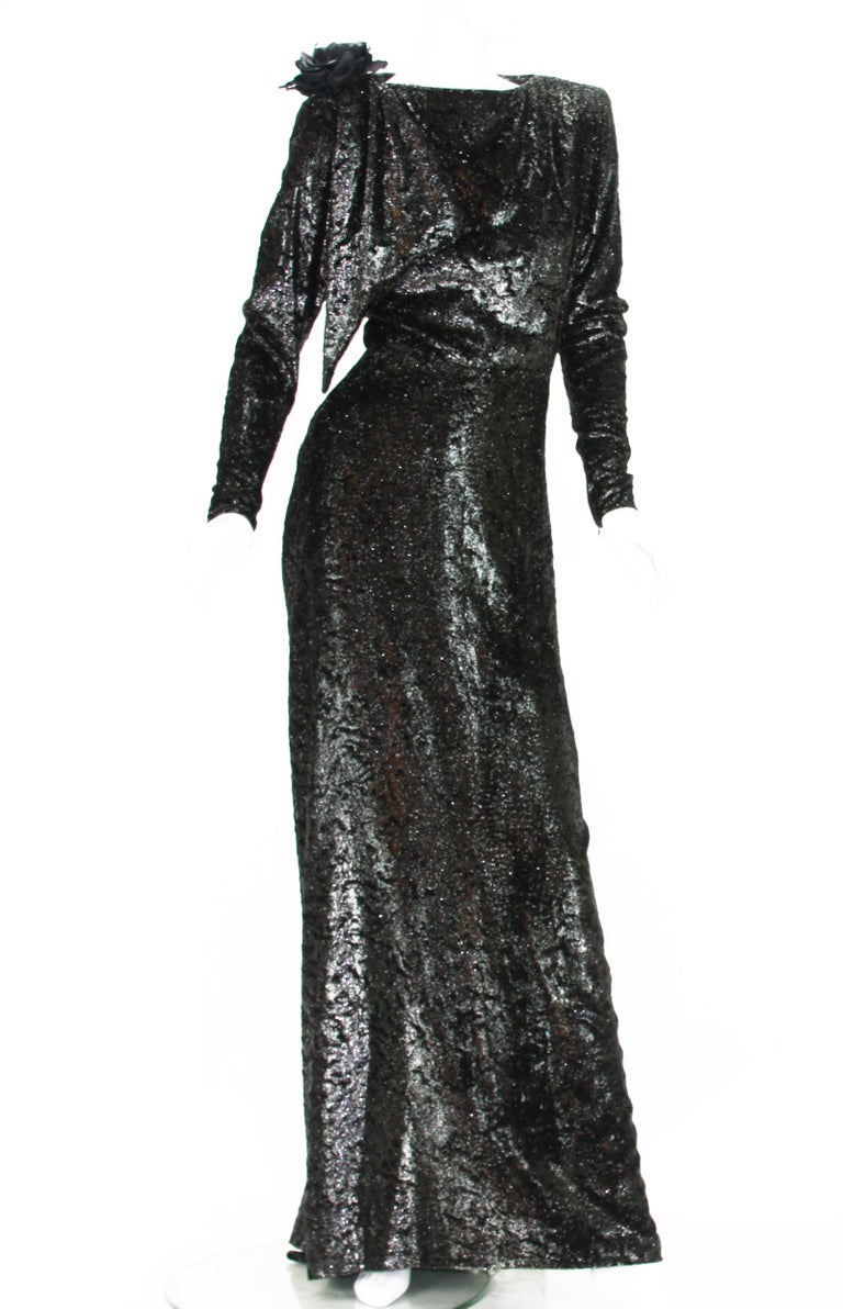Rare 2 in 1 Yves Saint Laurent Couture Crushed Velvet Numbered Dress c. 1986 For Sale 1