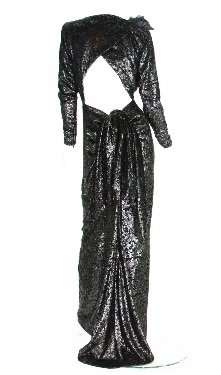 Rare 2 in 1 Yves Saint Laurent Couture Crushed Velvet Numbered Dress c. 1986 For Sale 2
