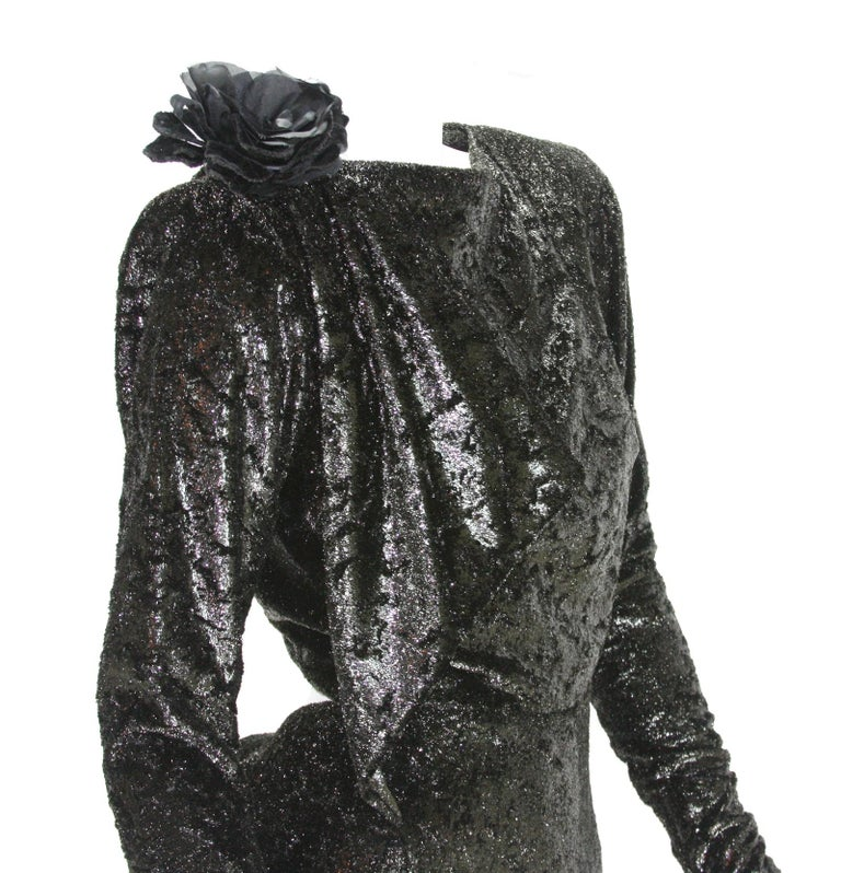Rare 2 in 1 Yves Saint Laurent Couture Crushed Velvet Numbered Dress c. 1986 For Sale 4