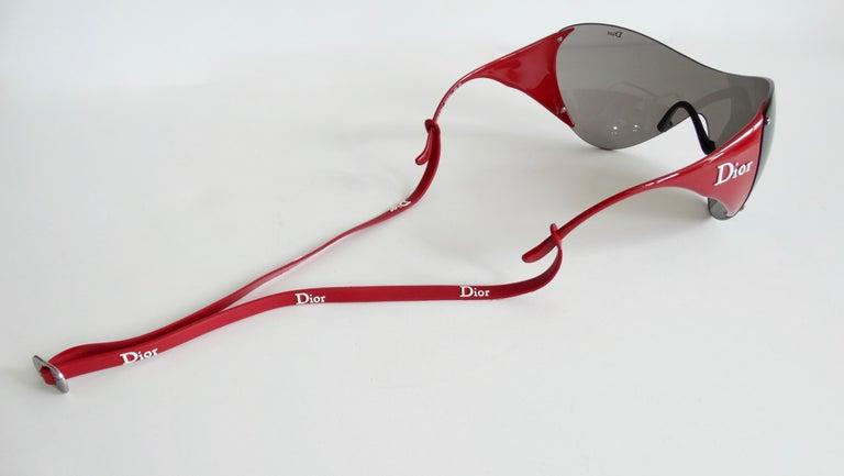 Christian Dior 2000s Cherry Red Ski Sport Sunglasses For Sale 7
