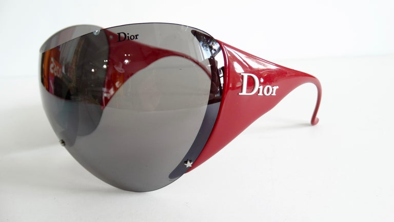 Christian Dior 2000s Cherry Red Ski Sport Sunglasses For Sale 8