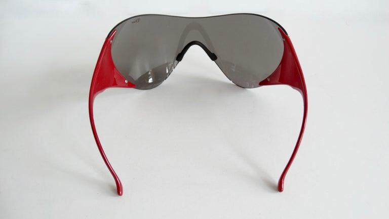Gray Christian Dior 2000s Cherry Red Ski Sport Sunglasses For Sale