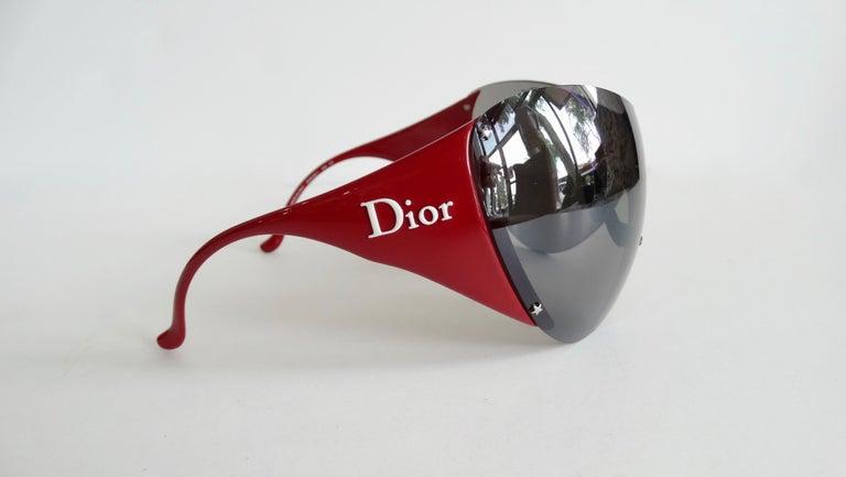 Christian Dior 2000s Cherry Red Ski Sport Sunglasses For Sale 2