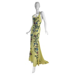 Rare 2003 Roberto Cavalli Tattoo Embroidered Silk Gown