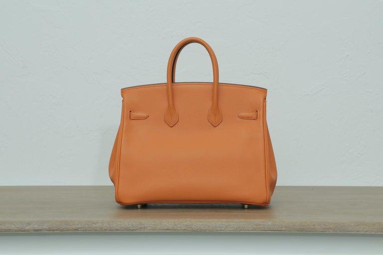 Women's or Men's Rare 2006s Hermes Birkin 25 Orange with Gold Hardware  For Sale