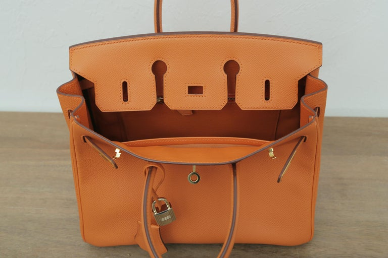 Rare 2006s Hermes Birkin 25 Orange with Gold Hardware  For Sale 2