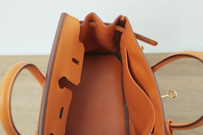 Rare 2006s Hermes Birkin 25 Orange with Gold Hardware  For Sale 3