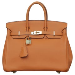 Rare 2006s Hermes Birkin 25 Orange with Gold Hardware
