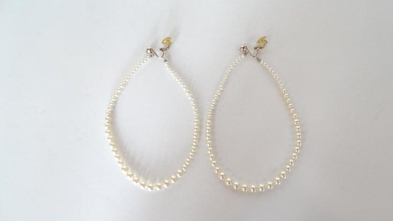 Rare 2014 Chanel Fall Pearl Hoop Earrings  For Sale 6