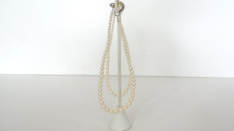 Women's Rare 2014 Chanel Fall Pearl Hoop Earrings  For Sale