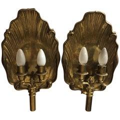 Rare 20th Century Brass Sconces, Electrified, Shell Shape