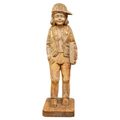 Rare 20th Century Wood Carving of Child in Excellent Conditioned, Natural Patina