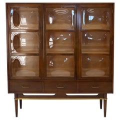 Rare 3 Bubble Glass Doors Mid-Century Modern Bookcase Wall Unit Display Cabinet
