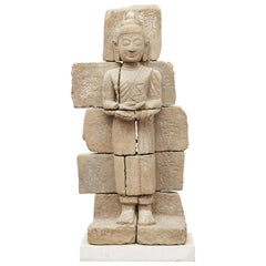 Rare 400-600 Years Old Burmese Sandstone Buddha Carved in Sandstone