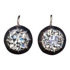 Rare 5.47 Ct Old European Cut Diamond Antique Solitaire Earrings