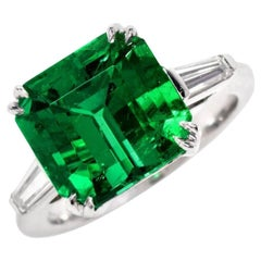 Rare 5.81 Carat Colombian GIA Emerald Diamond Platinum Ring