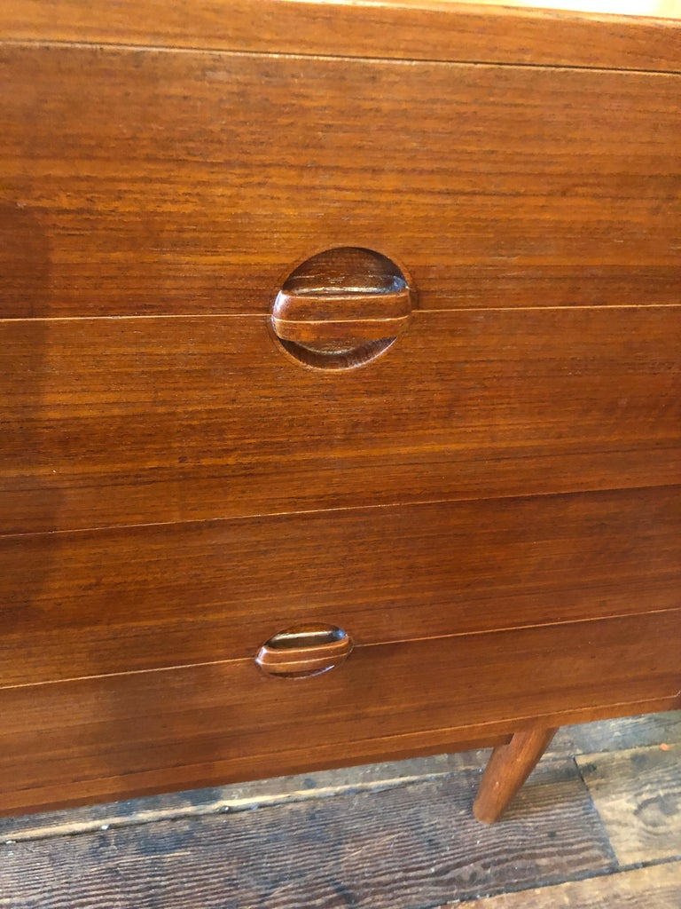 Mid-20th Century Rare 8 Drawer Teak Danish Mid-Century Modern Chest of Drawers by Erik Worts For Sale