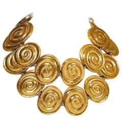 Rare 80's Vintage Yves Saint Laurent YSL Gold Oversize Necklace Belt