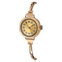 Rare 9 Karat Gold Ladies Antique Mechanical Trench Watch