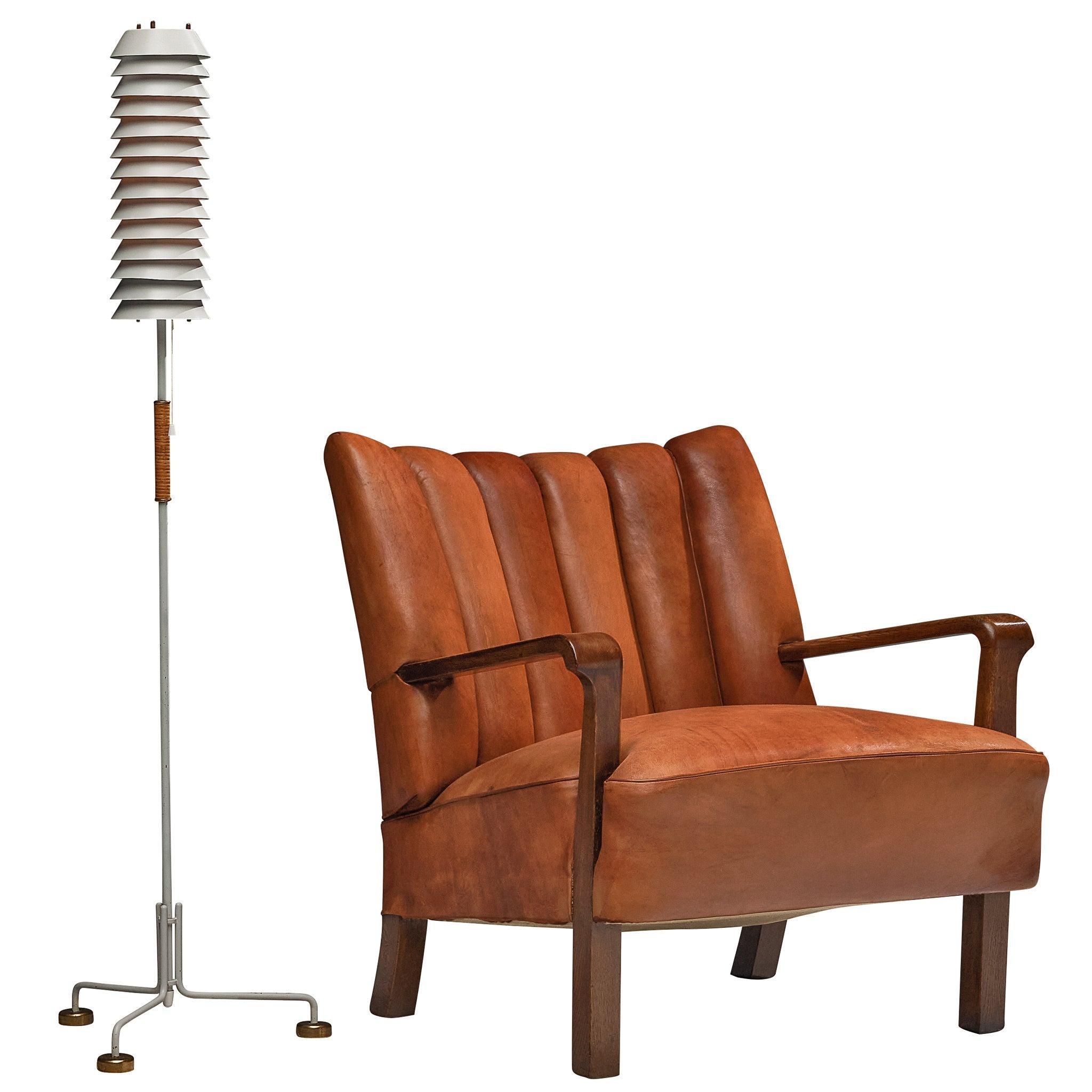 Rare Acton Bjørn Armchair in Original Leather and Tapiovaara 'Maija' Floor Lamp