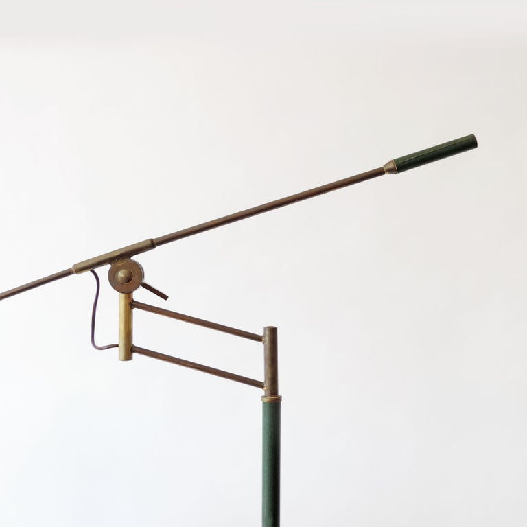 Mid-20th Century Rare Adjustable Italian Floor Lamp in Brass and Green Faux Leather, 1940s For Sale