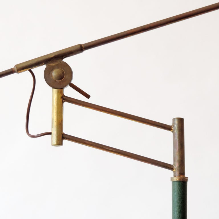 Rare Adjustable Italian Floor Lamp in Brass and Green Faux Leather, 1940s For Sale 1