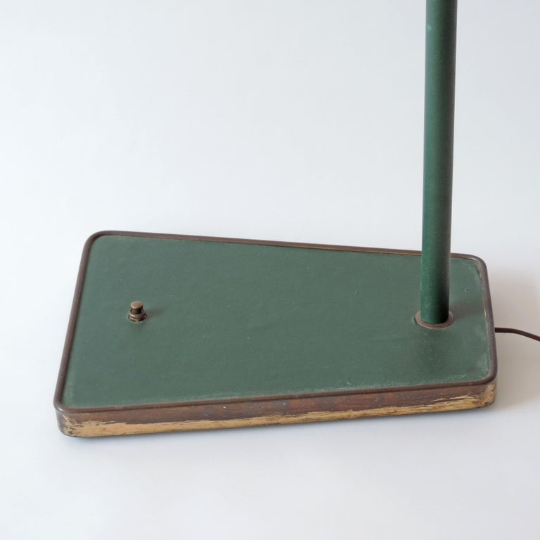 Rare Adjustable Italian Floor Lamp in Brass and Green Faux Leather, 1940s For Sale 2